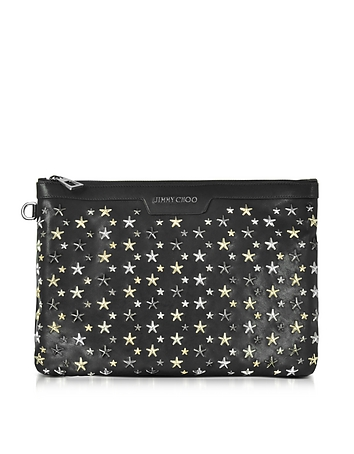 Jimmy Choo - Derek Black Leather Clutch w/Multi Metal Stars