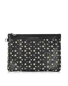 Derek Black Leather Clutch w/Multi Metal Stars - Jimmy Choo