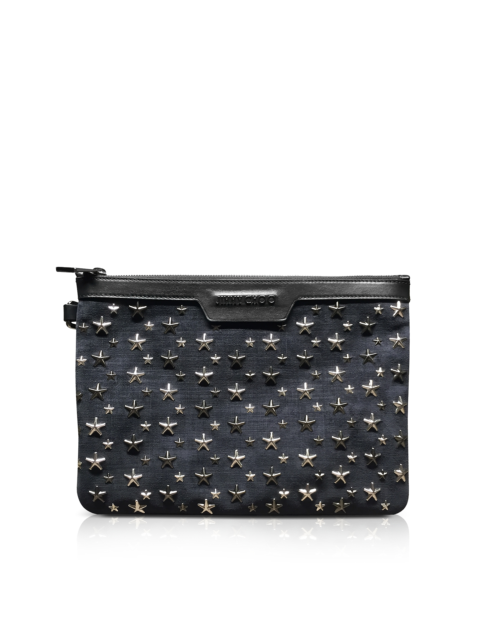 Clutch Derek S in Suede Stampa Denim