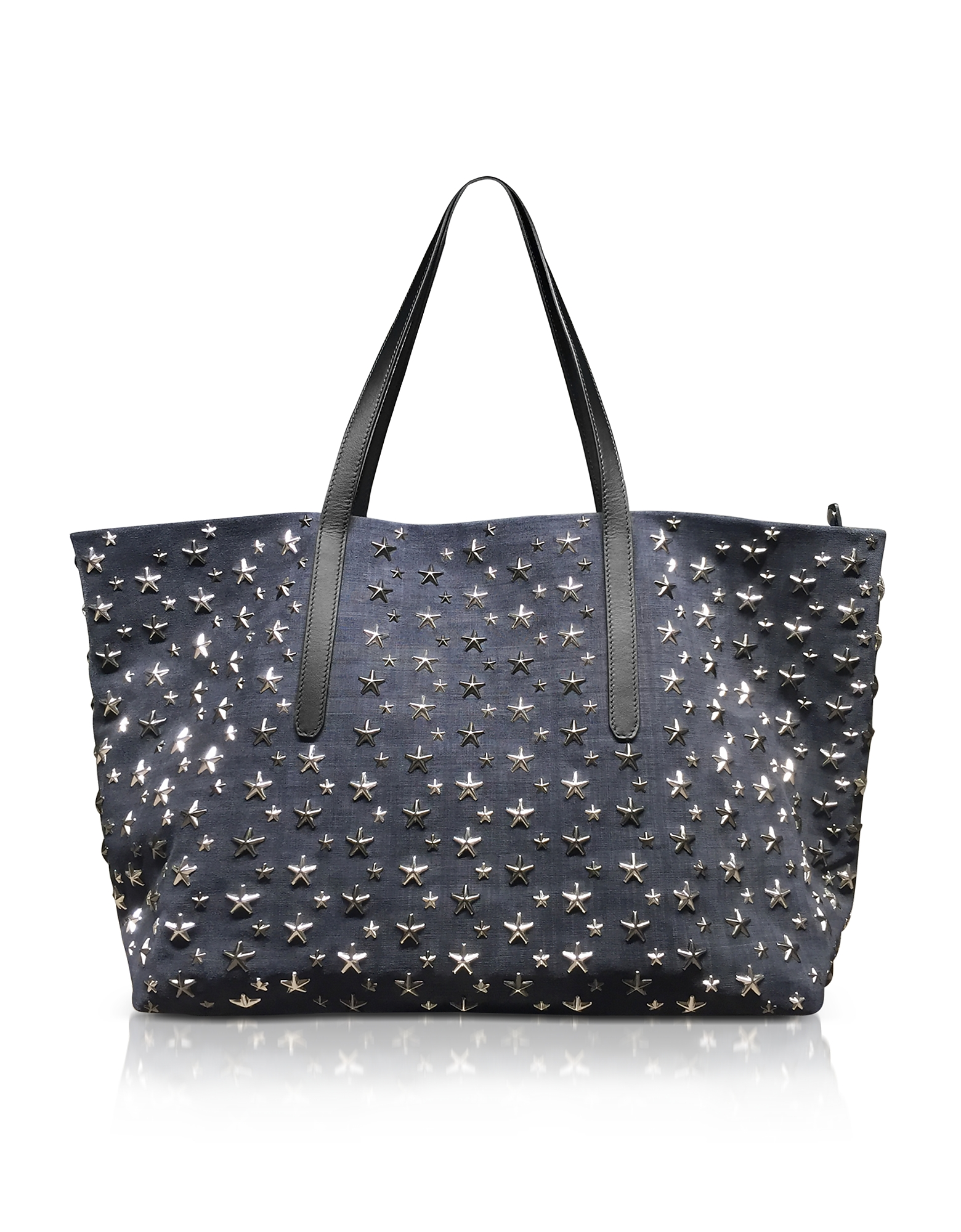 NAVY BLUE DENIM SUEDE LARGE TOTE from FORZIERI