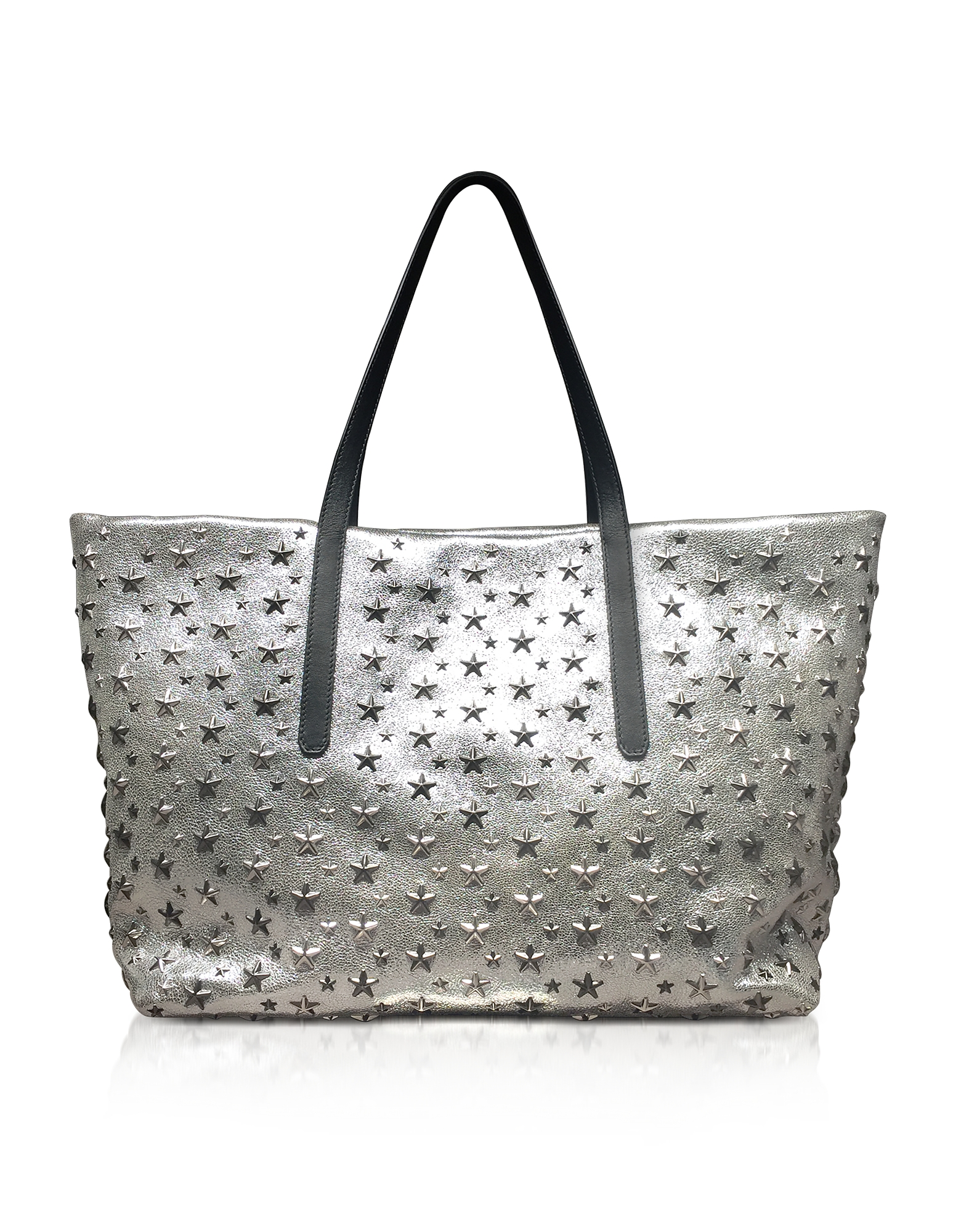 CHAMPAGNE AND SILVER GLITTER LEATHER LARGE PIMLICO TOTE from FORZIERI