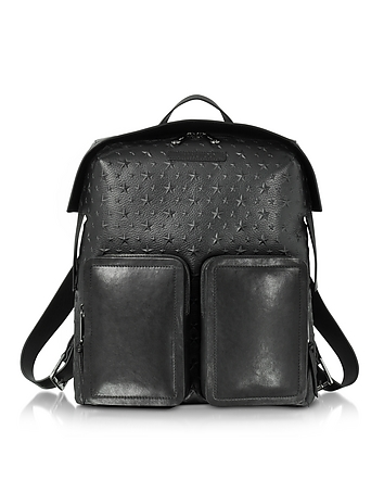 Jimmy Choo - Lennox Black Grained Leather Large Backpack w/Embossed Stars