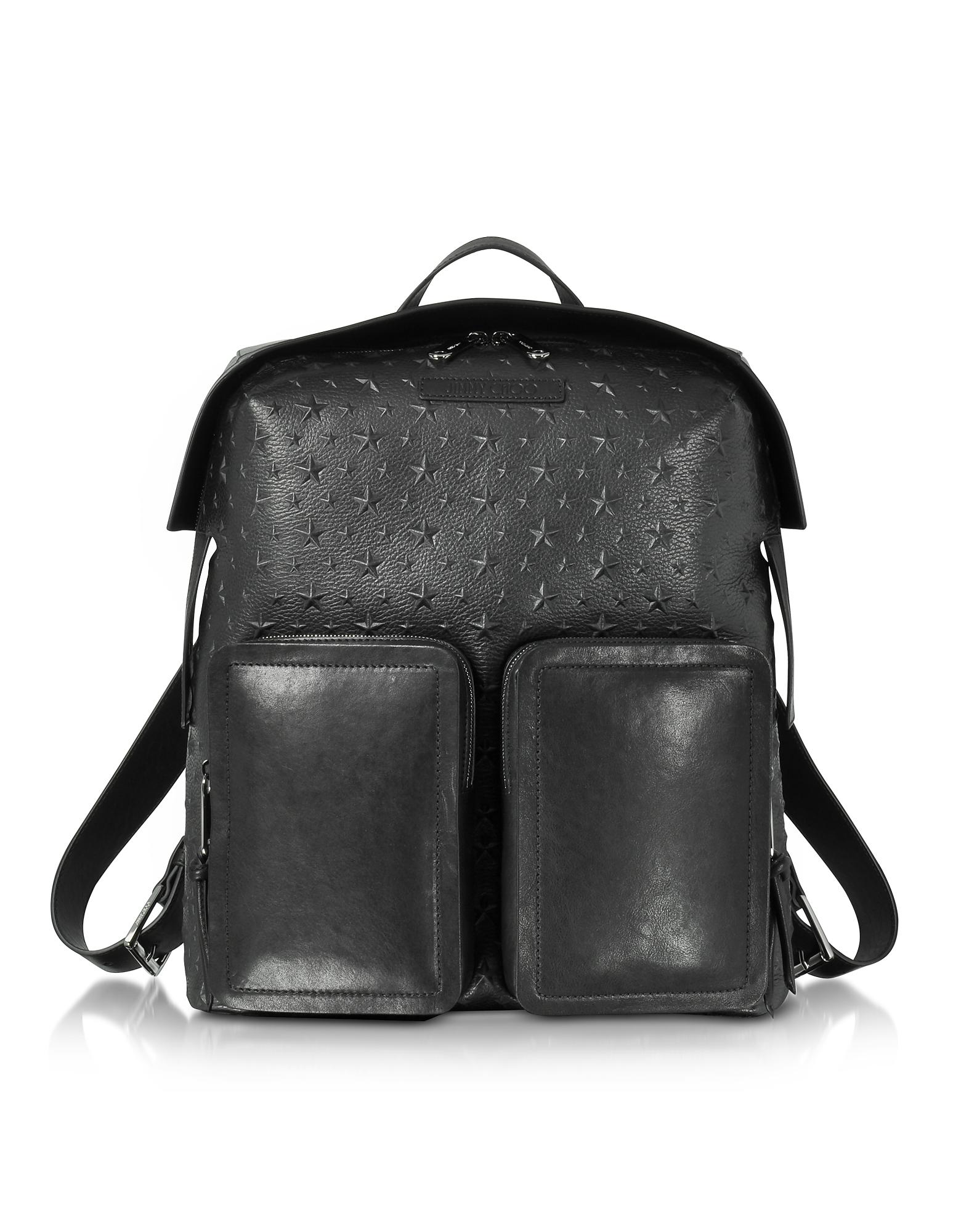 Lennox - Большой Черный Рюкзак из Зернистой Кожи с Тиснеными Звездами