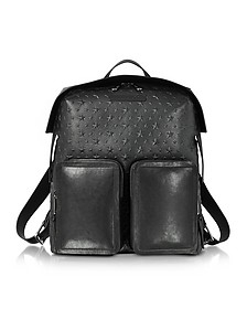 Lennox Black Grained Leather Large Backpack w/Embossed Stars - Jimmy Choo