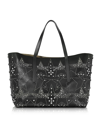 Pimlico Rock Black Leather Large Tote w/Graphic Star Studded Embellishment