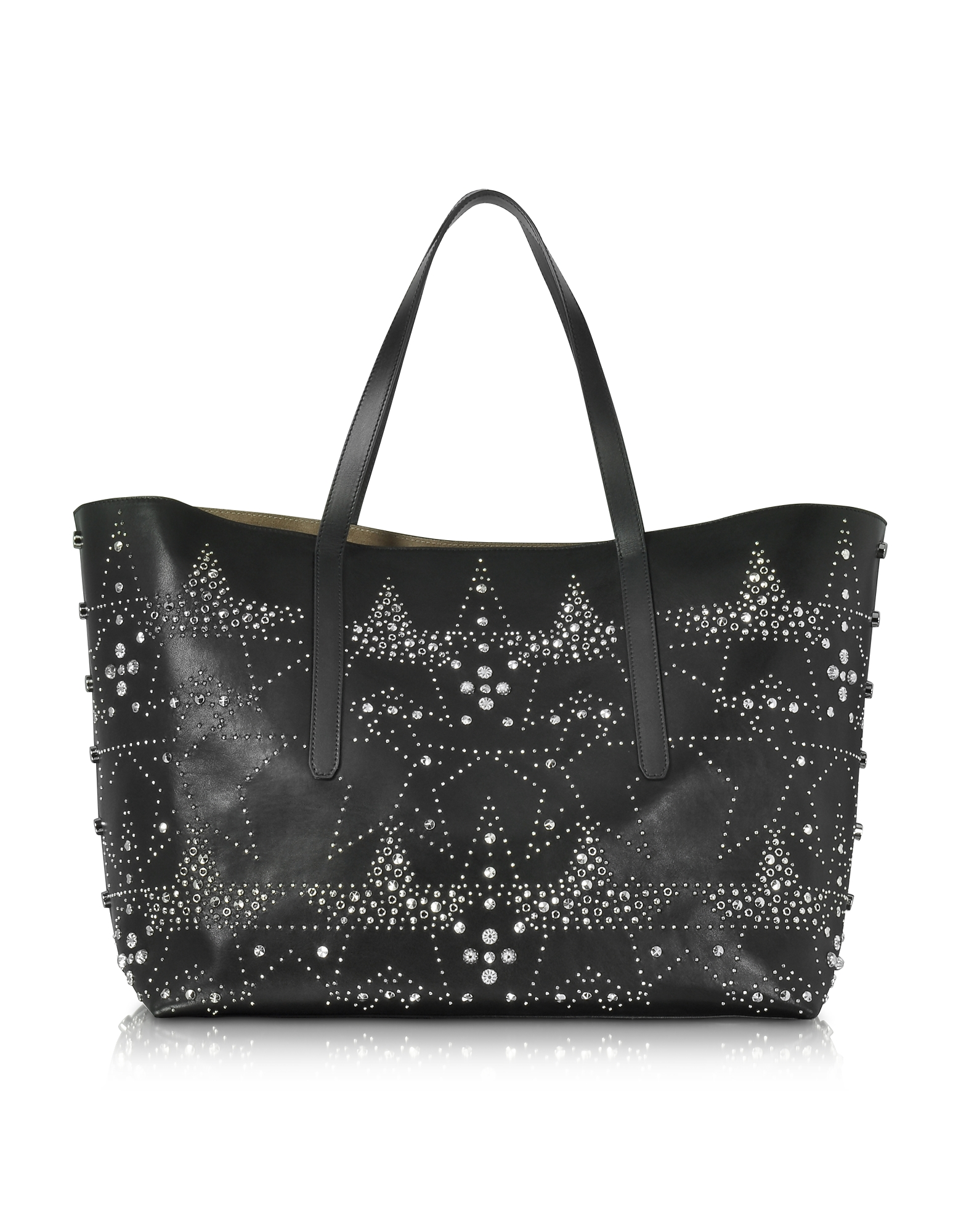 Jimmy Choo Handbags, Pimlico Rock Black Leather Large Tote w/Graphic Star Studded Embellishment