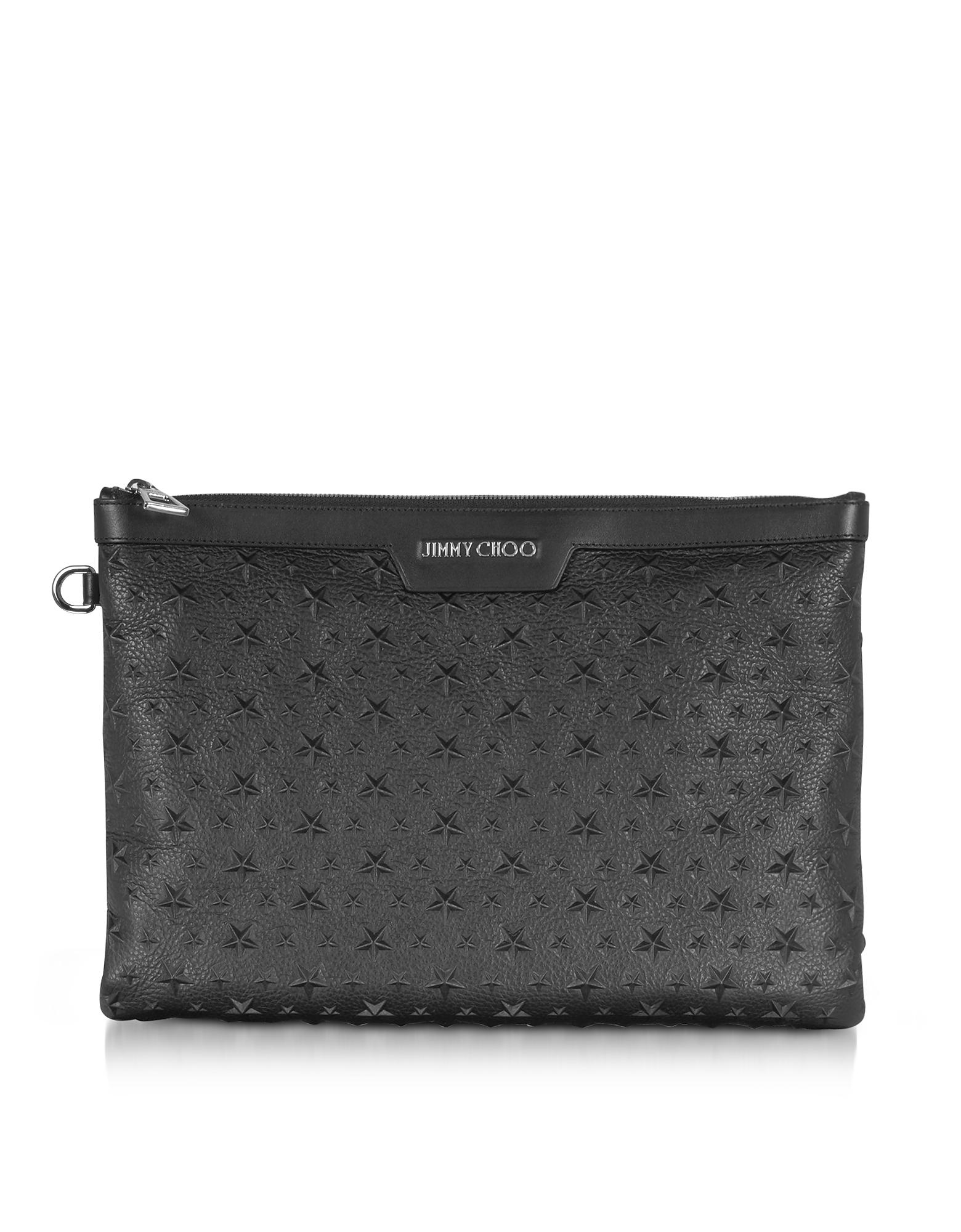 Jimmy Choo Handbags, Stars Embossed Grainy Leather Derek Medium Clutch