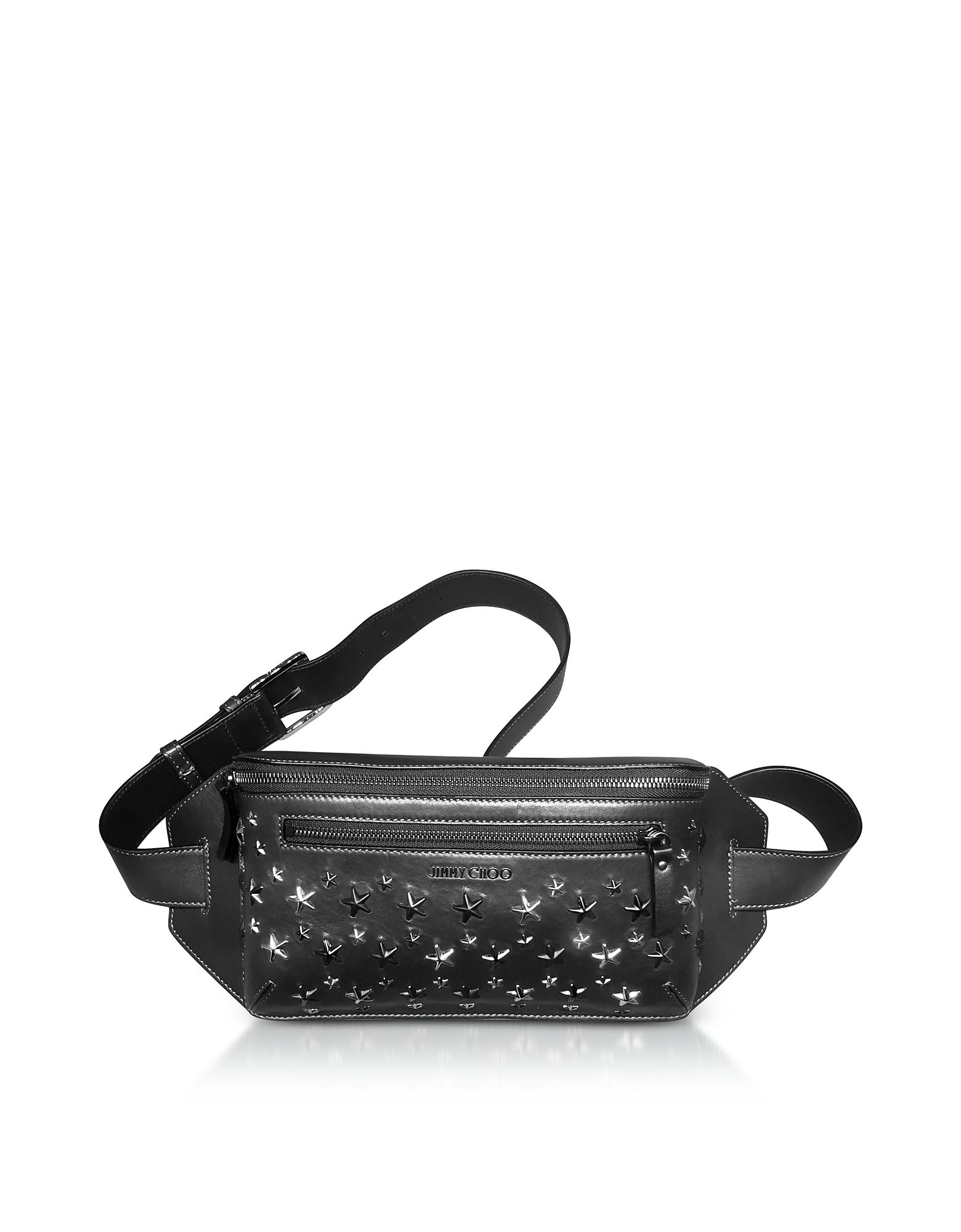 Jimmy Choo Handbags, Oscar Black Grainy Leather Belt Bag w/Embossed Stars