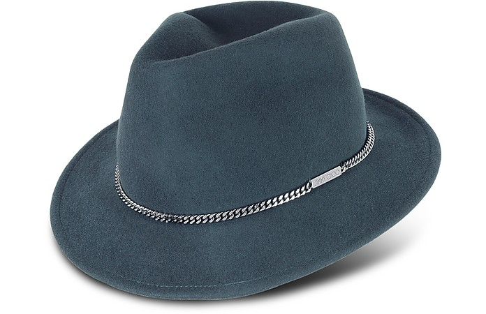 Anthracite Wool Hat w/Chain - Jimmy Choo