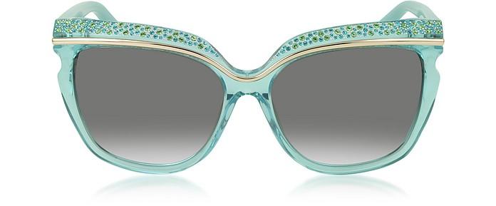 SOPHIA/S DSLN6 Crystal and Aqua Green Acetate Women's Sunglasses - Jimmy Choo