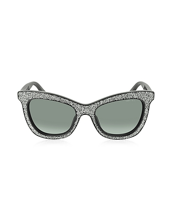 FLASH/S F18HD Black Silver Glitter Women's Sunglasses