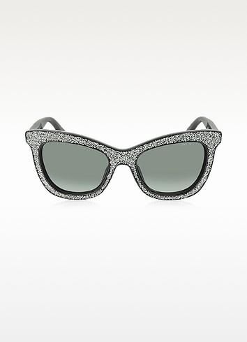 FLASH/S F18HD Black Silver Glitter Women's Sunglasses - Jimmy Choo