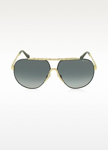 BENNY/S FHGHD Black Metal Aviator Women's Sunglasses - Jimmy Choo