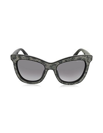 Jimmy Choo - FLASH/S IBWEU Black & Grey Glitter Cat Eye Sunglasses