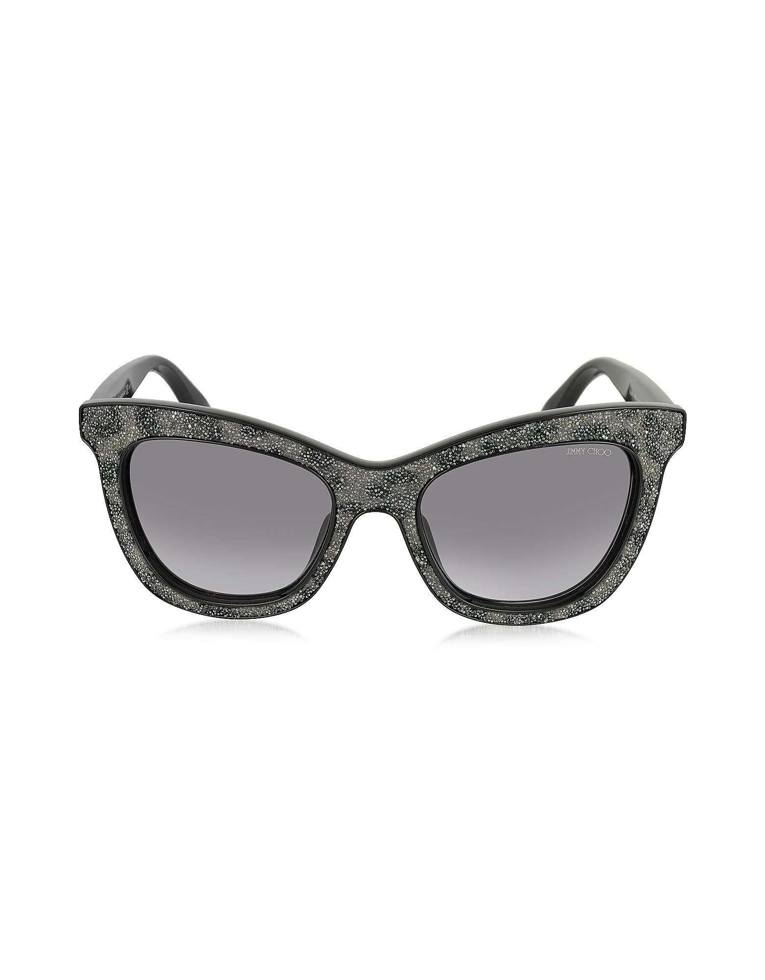 FLASH/S IBWEU - Черно-Серые Блестящие Солнечные Очки Кошачий Глаз