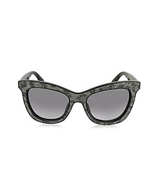 FLASH/S IBWEU Black & Grey Glitter Cat Eye Sunglasses - Jimmy Choo