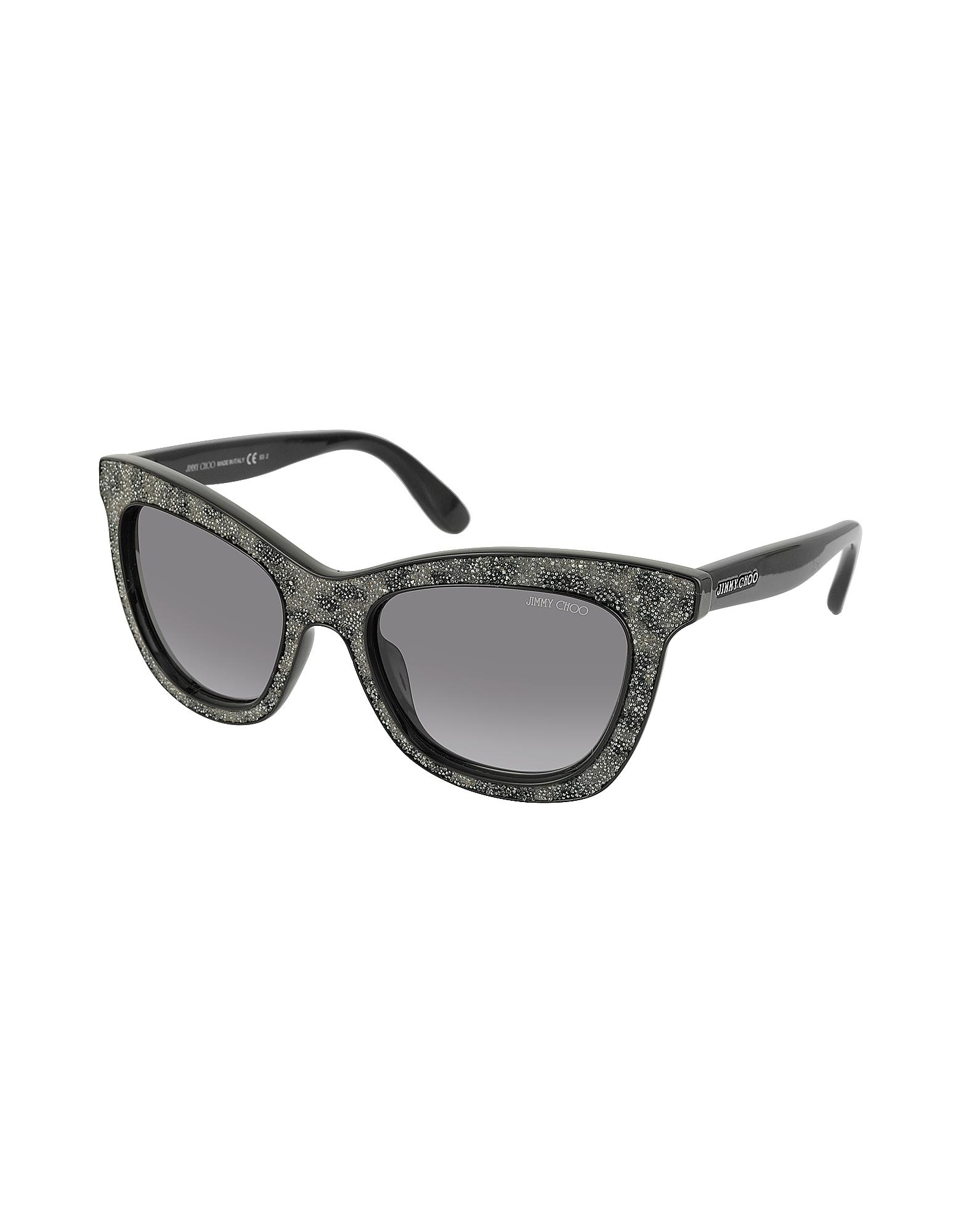Фото FLASH/S IBWEU - Черно-Серые Блестящие Солнечные Очки Кошачий Глаз. Купить с доставкой