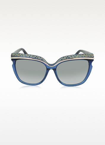 SOPHIA/S 11LIC Crystal Adorned Blue Framed Sunglasses - Jimmy Choo