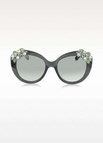 MEGAN/S 1VDIC Dark Grey Oversized Sunglasses w/Jewelled Clusters - Jimmy Choo