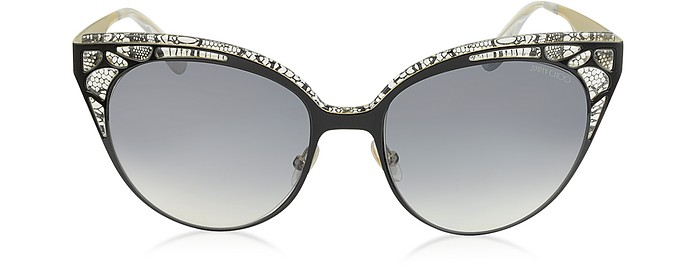 ESTELLE/S ENYLF Black Metal Lace Cat Eye Sunglasses - Jimmy Choo