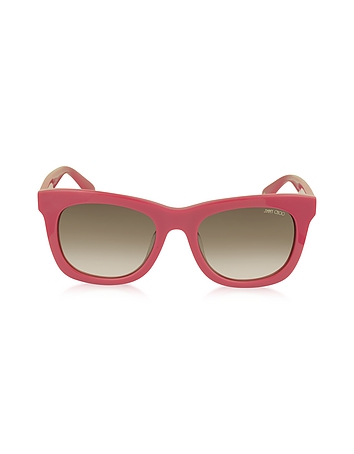 Jimmy Choo - SASHA/S 8V0K8 Fuchsia Acetate Square Frame Sunglasses with Silver Stars
