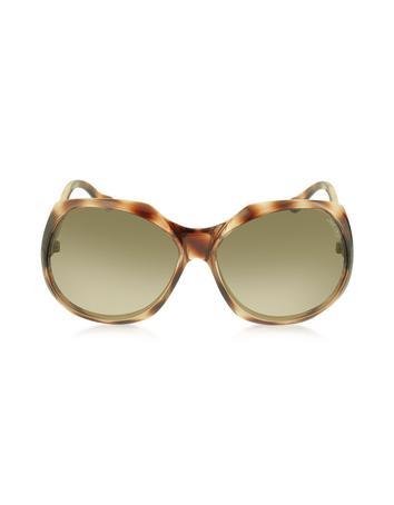 ELY / S 8VMS1 Brown Oversized Frame Sunglasses