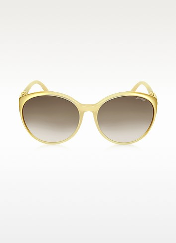MARINE/S BVFJS Gold Round Frame Sunglasses - Jimmy Choo