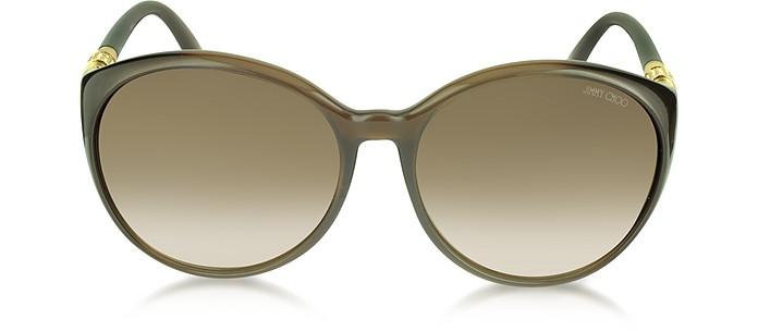 MARINE/S APKJD Brown Round Frame Sunglasses - Jimmy Choo