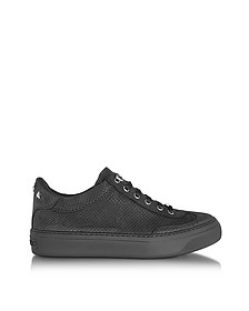 Ace Black Embossed Nubuck Men's Low Top Sneakers w/Stars - Jimmy Choo