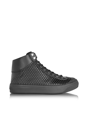 Jimmy Choo - Argyle Black Satin High Top Men's Sneakers w/Mini Rubber Stars