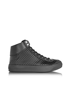 Argyle Black Satin High Top Men's Sneakers w/Mini Rubber Stars - Jimmy Choo
