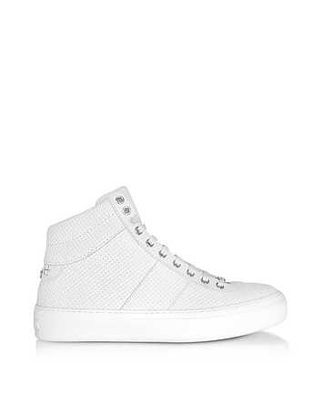 Jimmy Choo - Belgravi White Embossed Nubuck Men's High Top Sneaker w/Stars