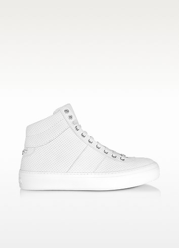 Belgravi White Embossed Nubuck Men's High Top Sneaker w/Stars - Jimmy Choo