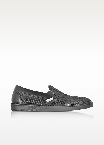 Grove Black Satin Men's Slip on Sneakers w/Mini Rubber Star - Jimmy Choo