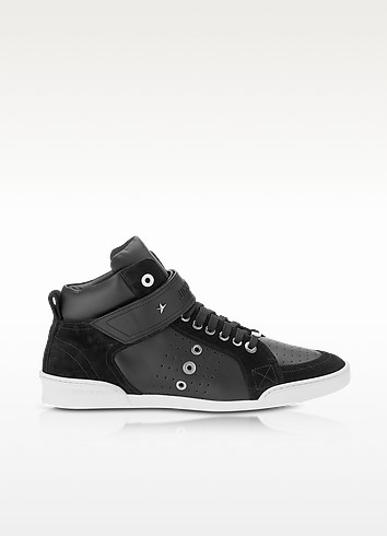 Lewis Black Sport Leather and Suede High Top Men's Sneakers - Jimmy Choo