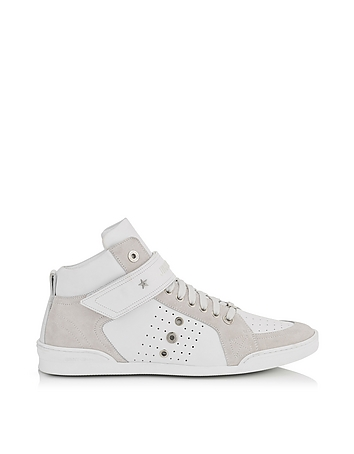 Lewis White Sport Leather and Suede High Top Men's Sneakers