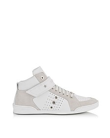 Lewis White Sport Leather and Suede High Top Men's Sneakers - Jimmy Choo
