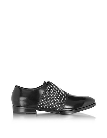 Jimmy Choo - Peter Black Leather Loafer w/Elastic Studded Band