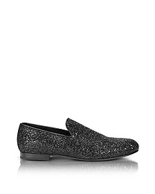 Sloane Black Glitter Loafer - Jimmy Choo