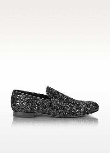 Sloane Black Glitter Loafer - Jimmy Choo