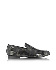 Sloane Black and Gold Glitter Patent Leather Loafer w/Star - Jimmy Choo