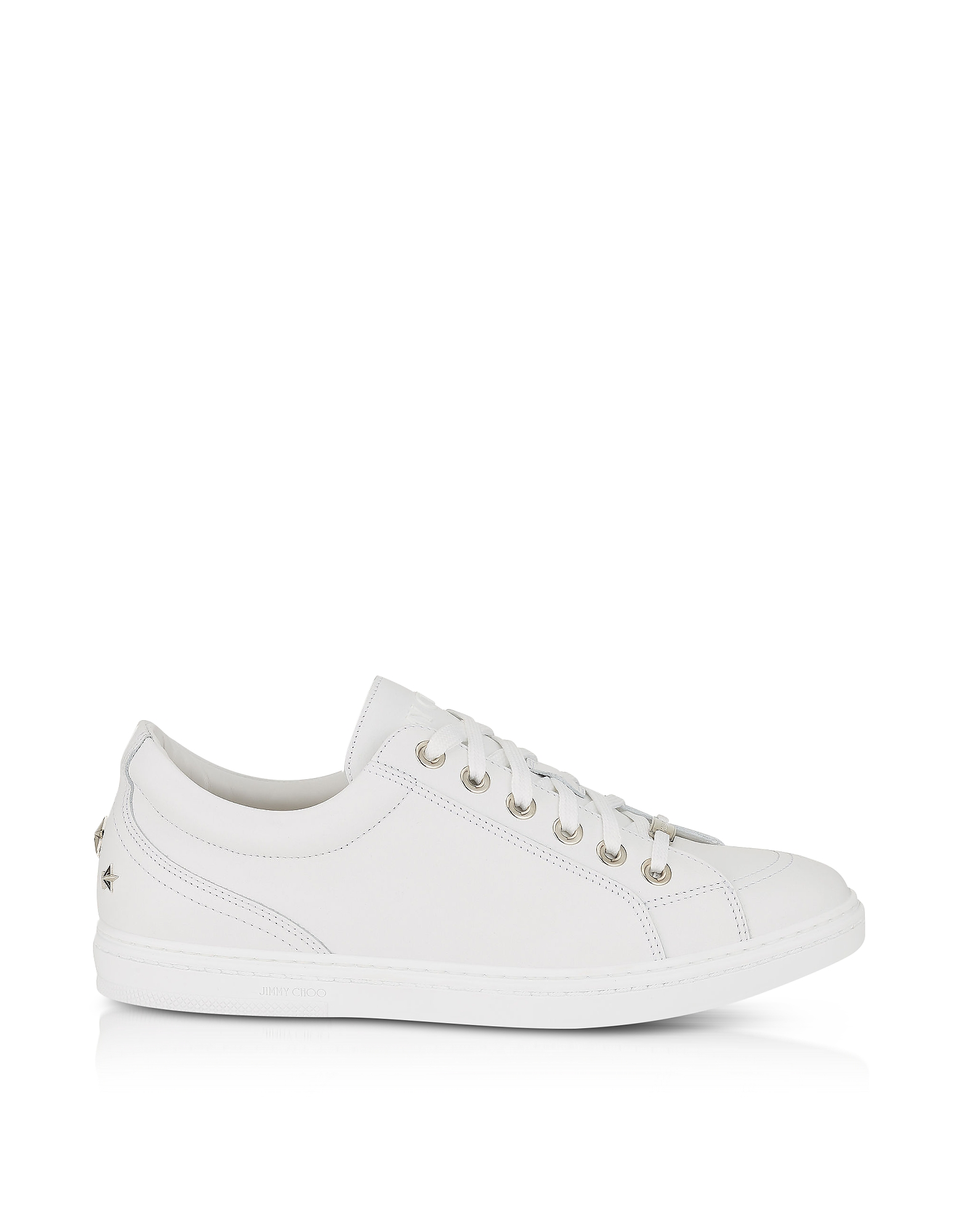 Jimmy Choo Shoes, Cash SML Ultra White Leather Low Top Sneakers w/Studded Stars