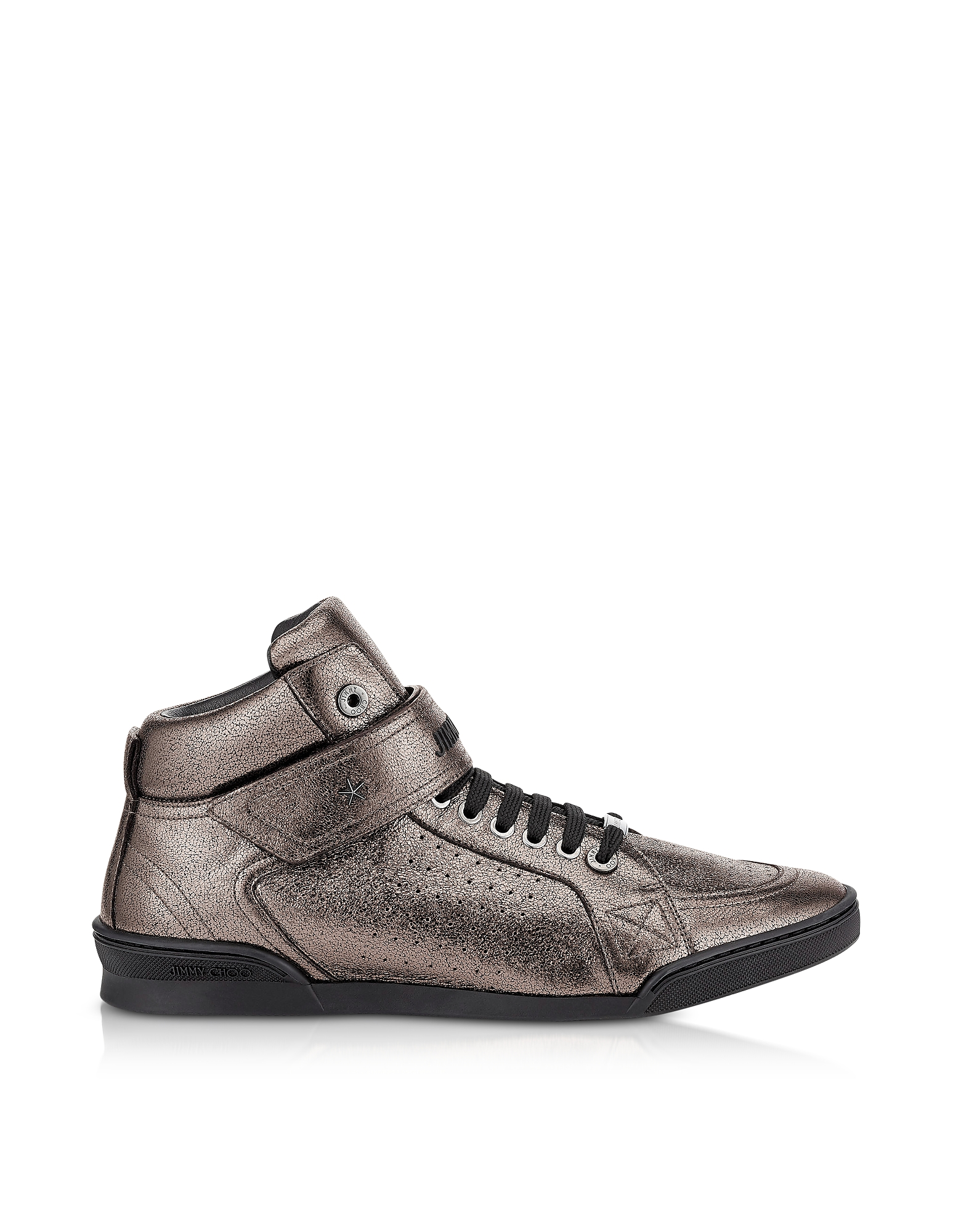 Jimmy Choo Shoes, Lewis EOE Gunmetal Metallic Soft Leather High Top Sneakers