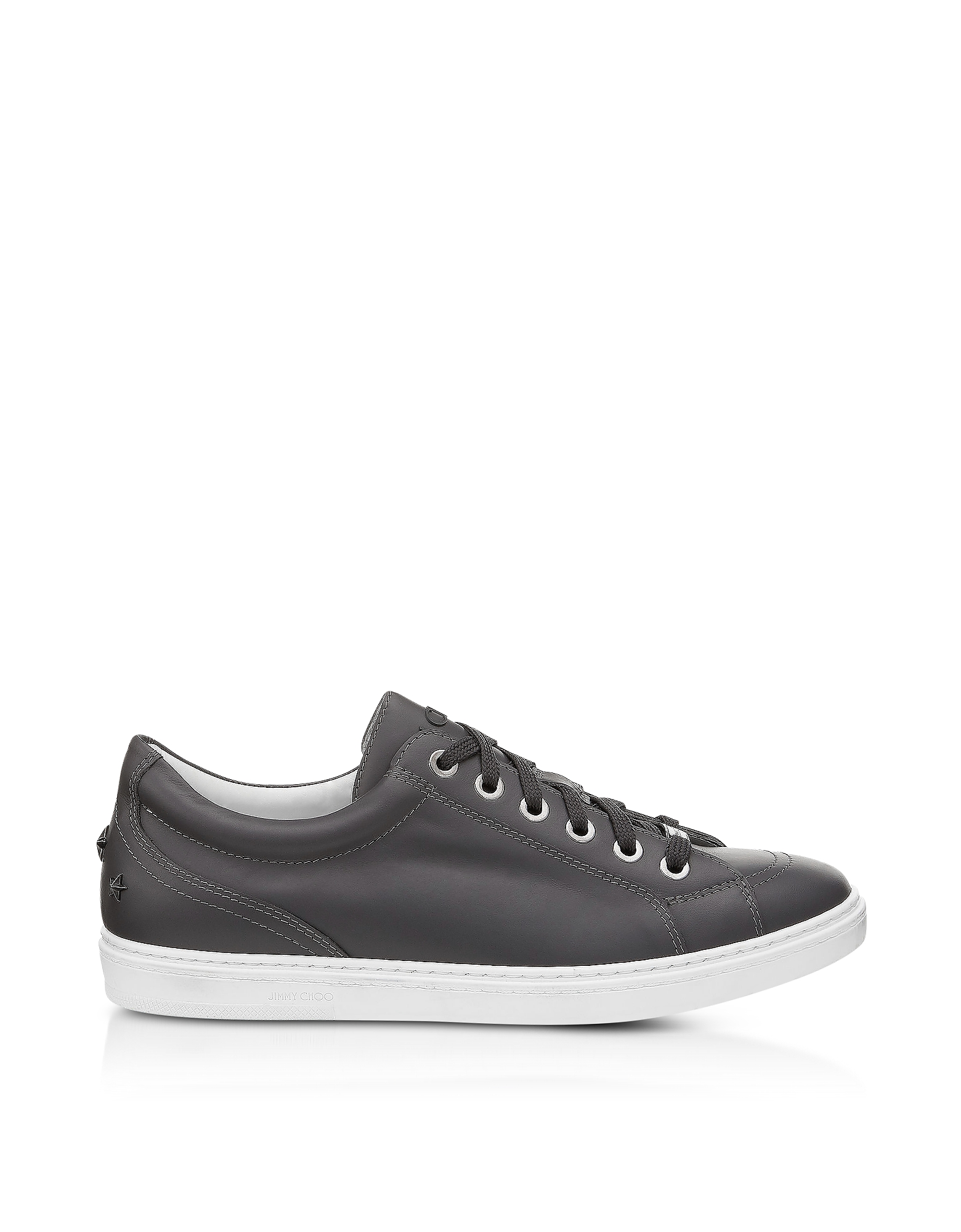 Jimmy Choo Shoes, Cash SML Slate Leather Low Top Sneakers w/Studded Stars