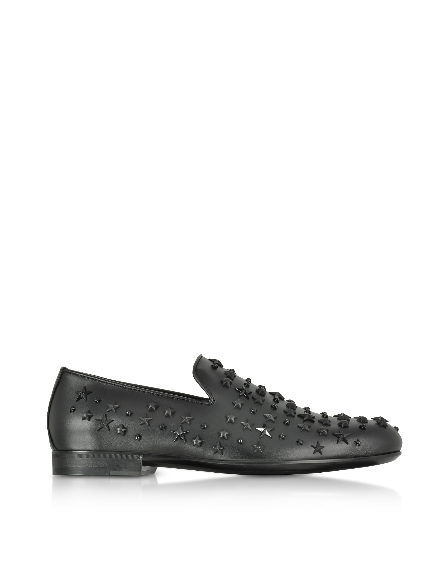 Jimmy Choo Shoes, Sloane OMX Black Leather Loafers w/ Studded Mixed Stars