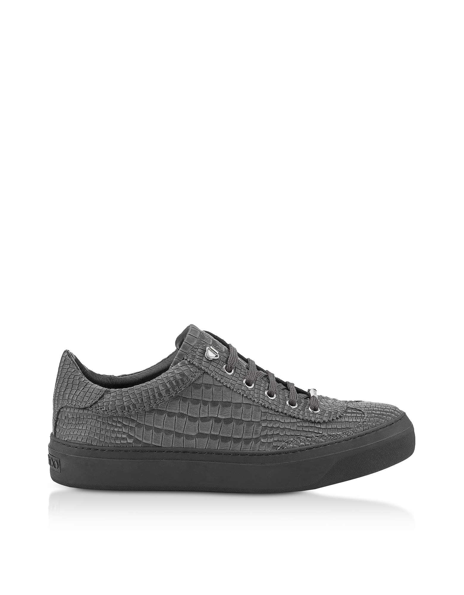 Jimmy Choo Shoes, Ace CTK Slate Croco Embossed Nubuck Low Top Men's Sneakers