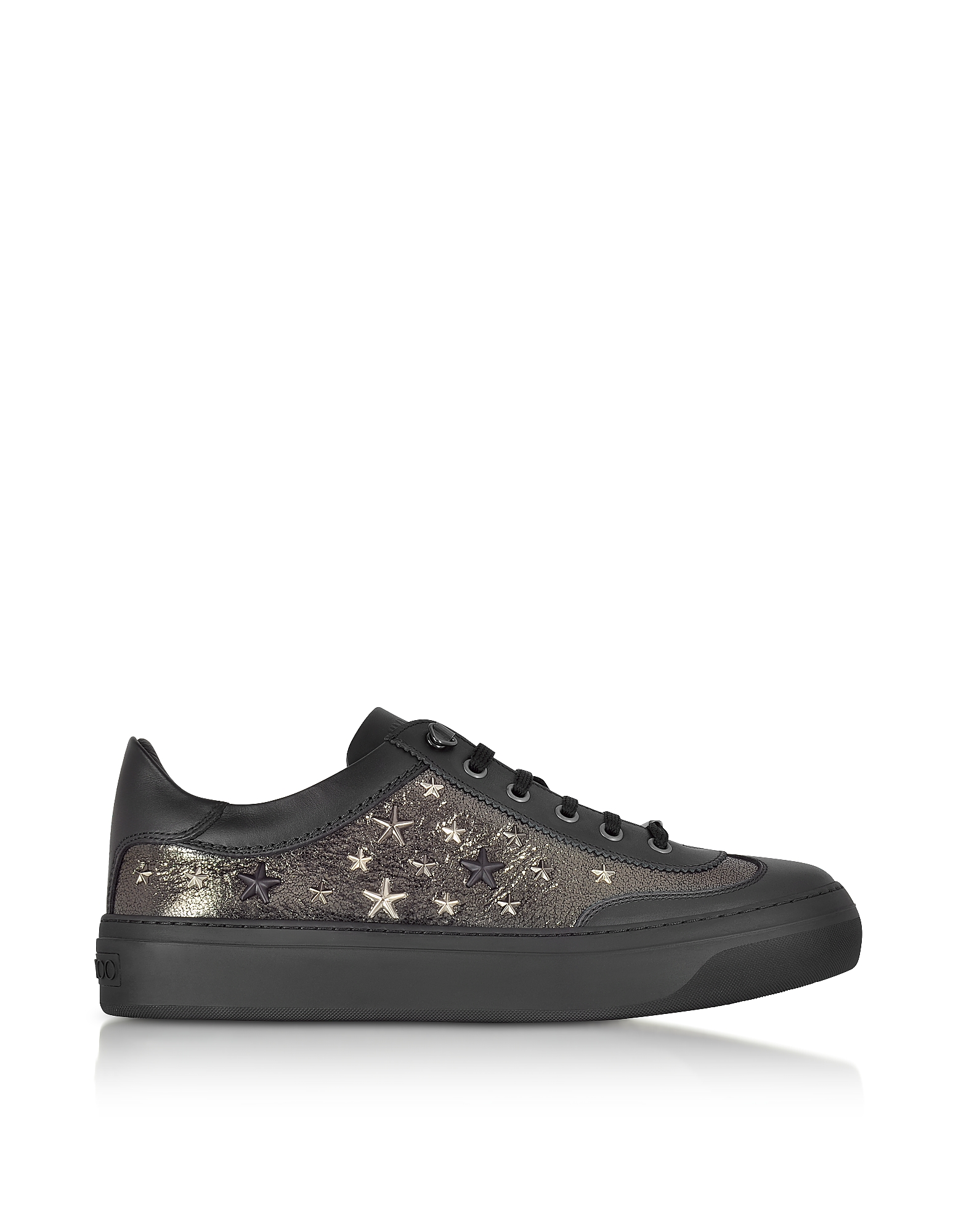Jimmy Choo Shoes, Ace EOR Metallic Gunmetal Leather Low Top Sneakers w/Studded Stars