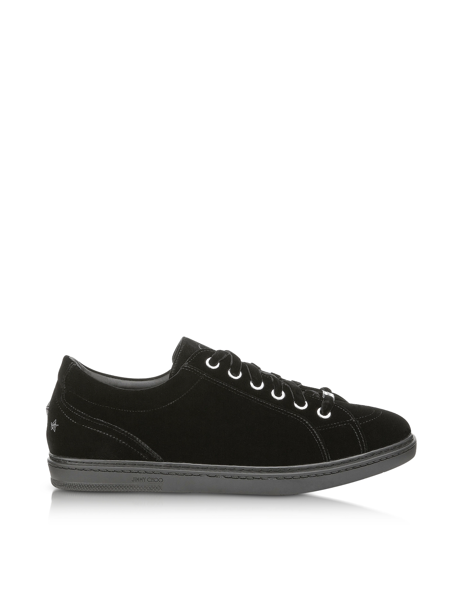 Jimmy Choo Shoes, Cash Black Velvet Low Top Sneakers w/Studded Stars