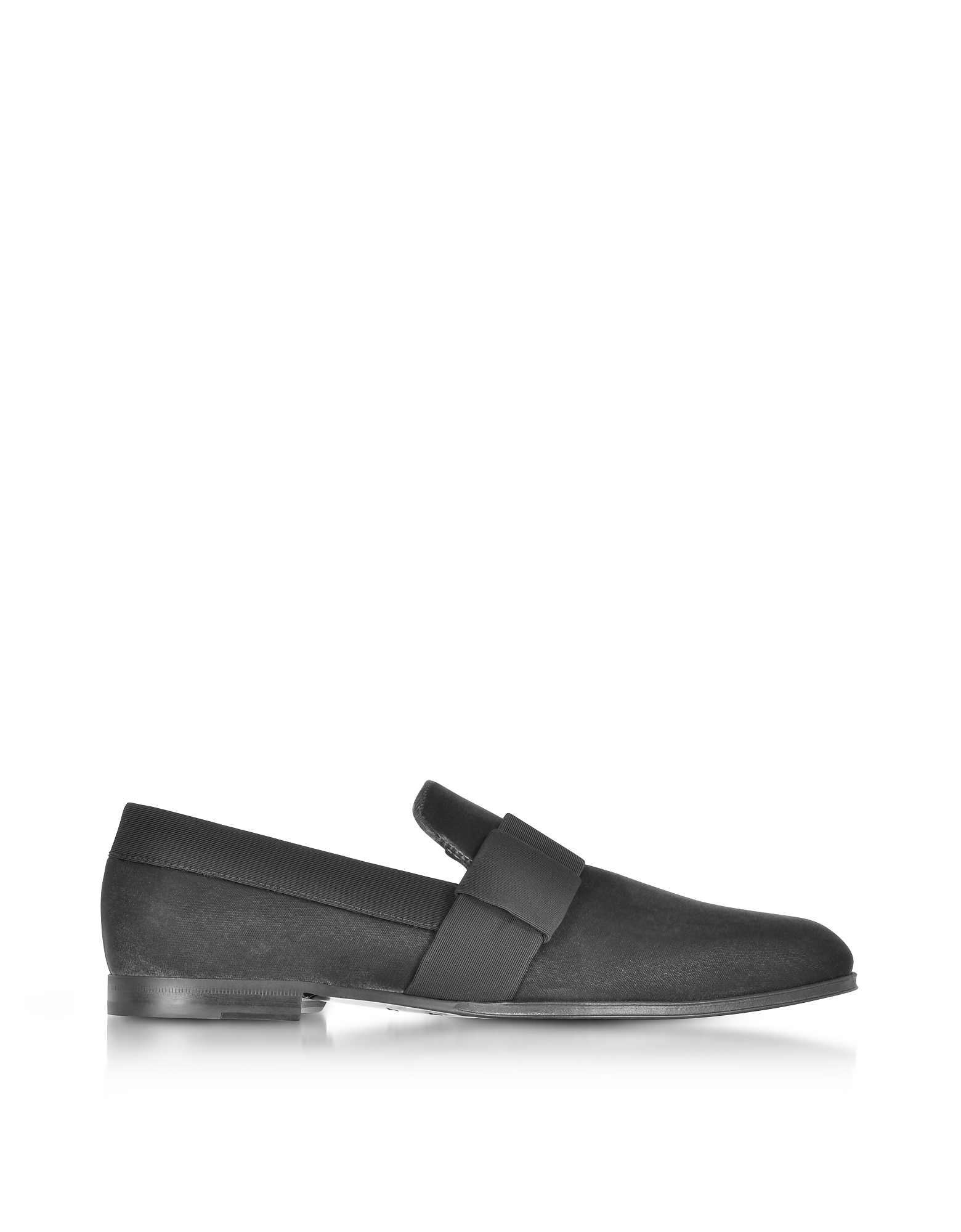 Jimmy Choo Shoes, John Black Velvet and Slate Grosgrain Slipper Shoes