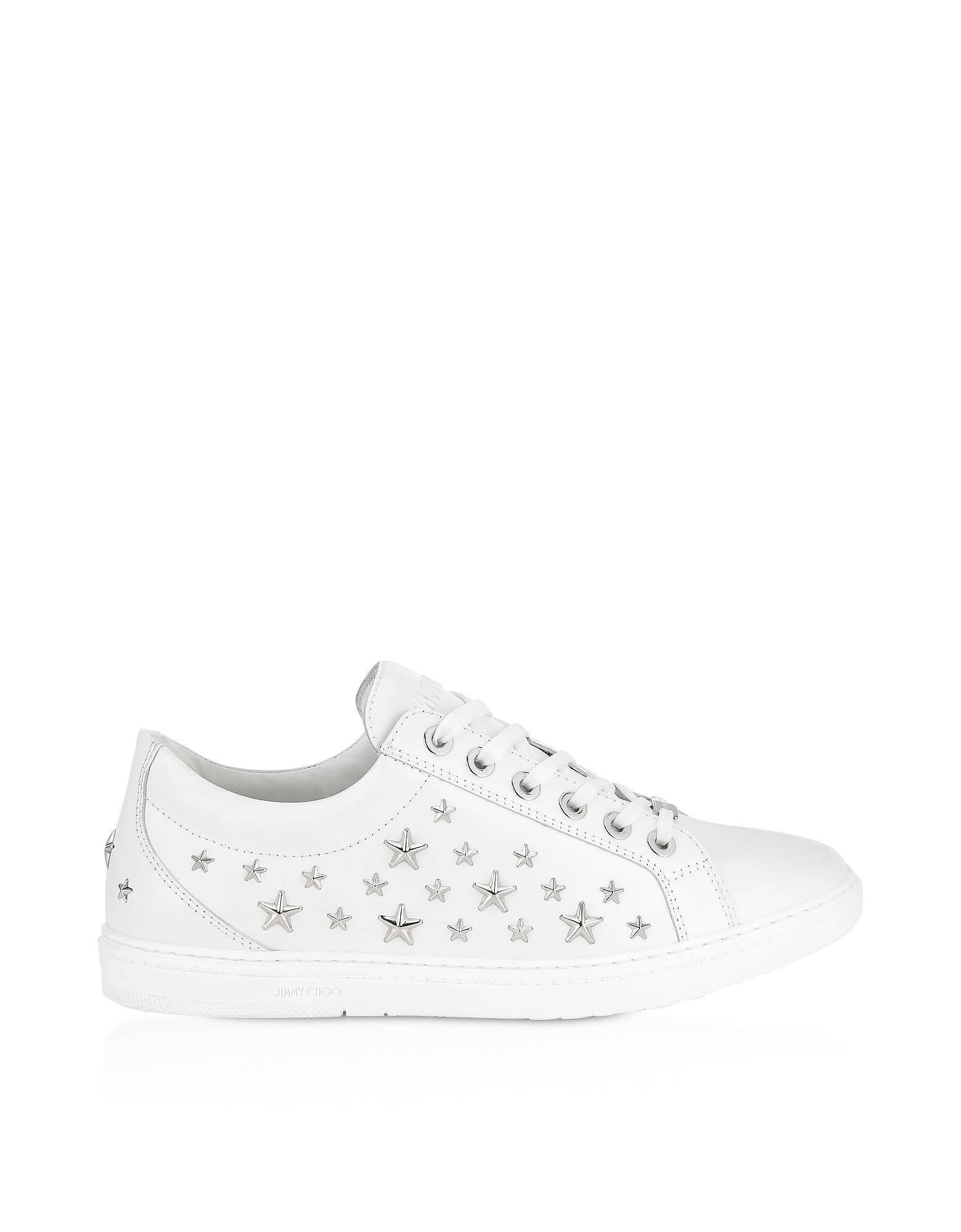 White CASH Low Top Trainer w/Silver Stars